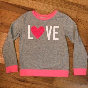 "Cat & Jack ""LOVE"" sweatshirt girls size 7/8"